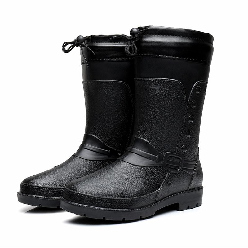 秋冬季新款男士雨鞋加厚加绒棉皮纹防滑水时尚洗车保暖中高筒雨靴