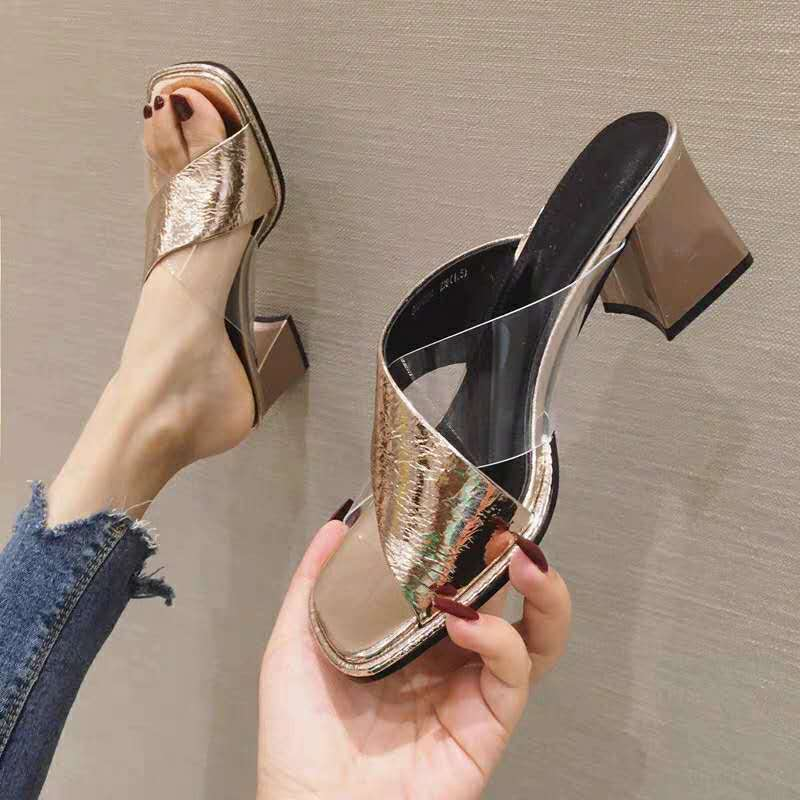 Europe station new sandals back air fashion fashion fashion light luxury high heel low top leather open toe thick HEELS SANDALS