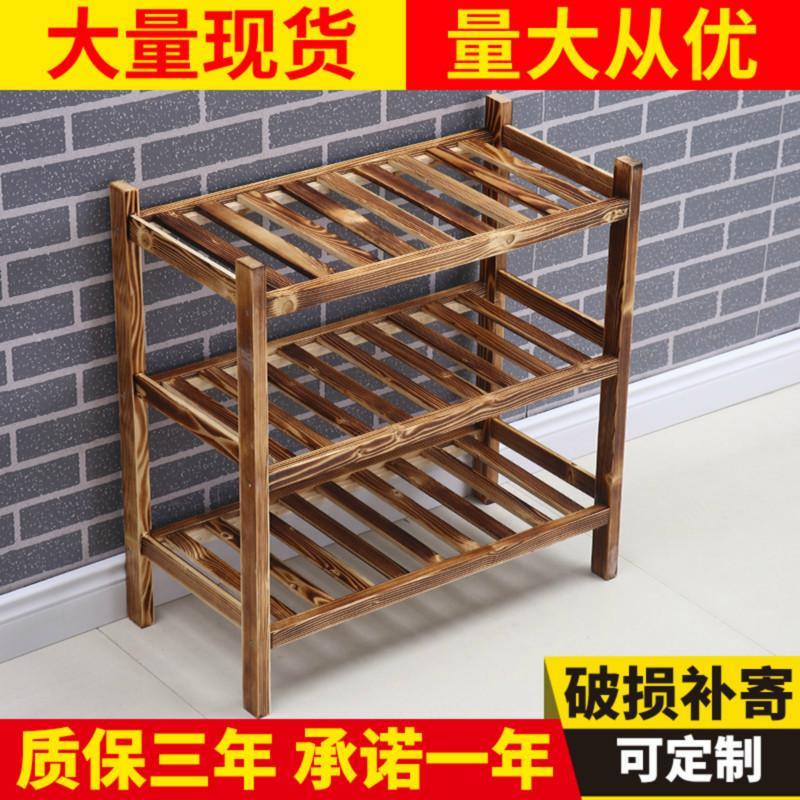 火锅店实木三层碳化火烧木放菜架子(非品牌)