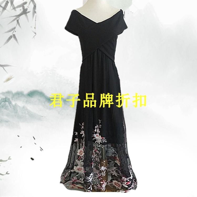 2018夏新款交叉V领短袖透视网纱刺绣花朵连衣裙长裙Vero Dgo Moda