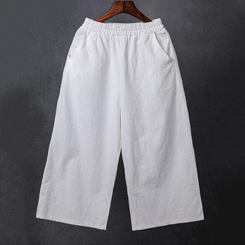 棉麻裤子女夏季新款民族风女装文艺口袋自然腰纯色宽松七分阔腿裤
