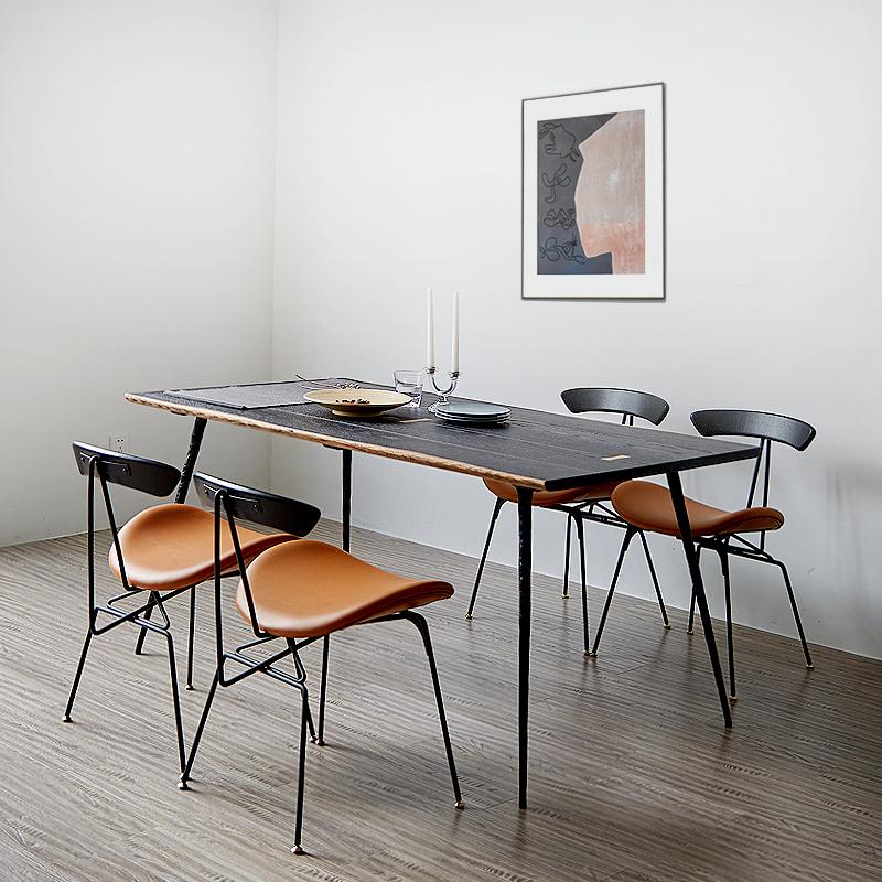轻奢实木餐桌家用小户型现代简约长方形铁艺工业风餐桌椅组合饭桌