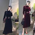 轻熟洋气连衣裙2020秋冬新款减龄立领百褶金丝绒中长裙气质打底裙
