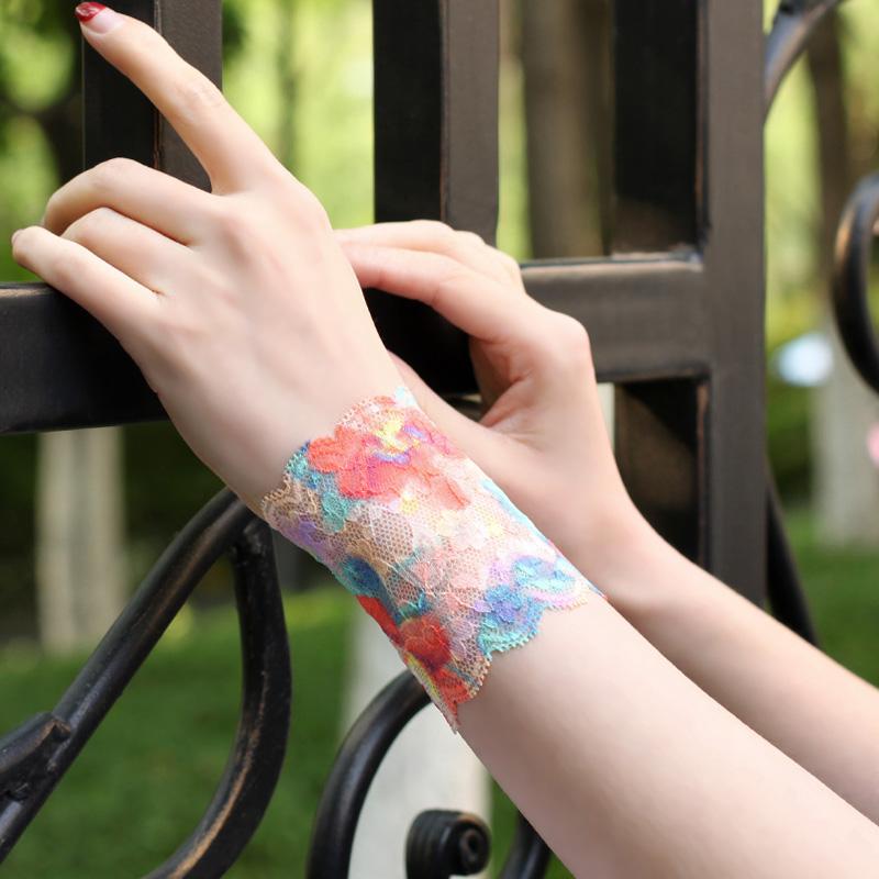 潮女遮疤痕纹短款超薄假袖蕾丝护腕袖套手腕套蕾丝护肘彩色手套女