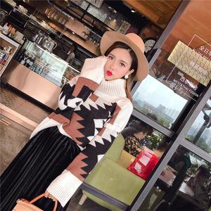 实拍 2204#大牌气质高领几何图案毛衣+百褶半身裙两件套装