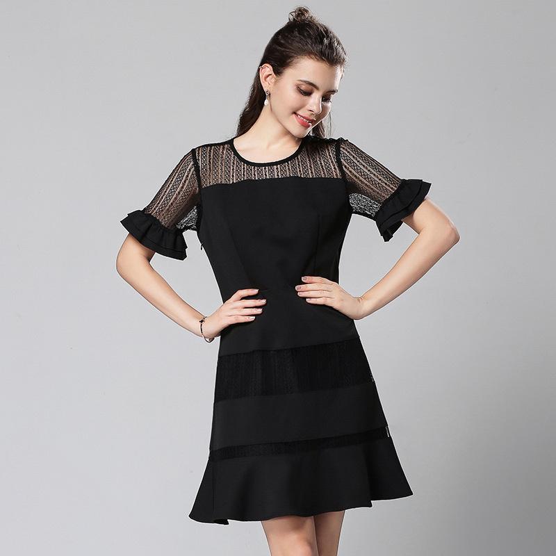2018夏装新款欧美大码女装修身中长蕾丝镂空短袖连衣裙时尚女裙子