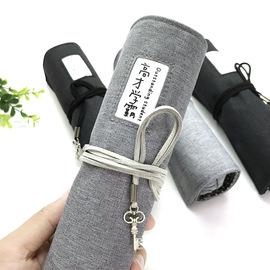 韩国简约笔袋男生初中学生文具盒女创意大容量卷笔帘小学生铅笔盒