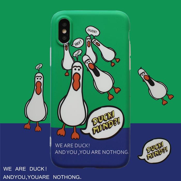 卡通可爱白色小鸭子 苹果x手机壳iPhone7plus/8/6s女款全包软壳
