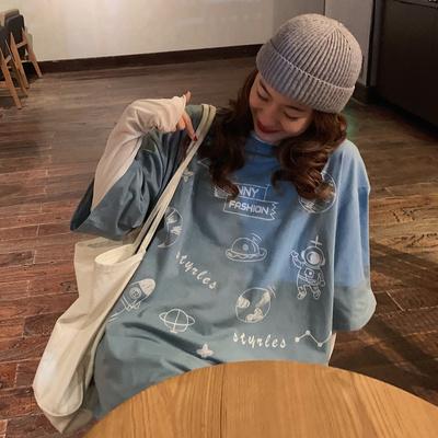 1496#【实拍图】6535拉架 印花短袖t恤女
