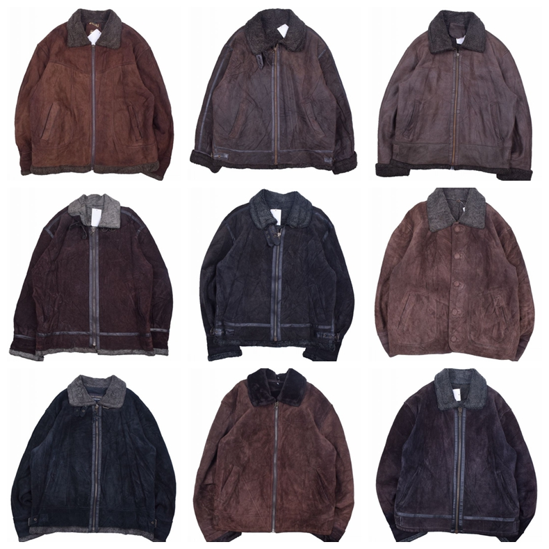Vintage winter loose short plush Vintage suede mens and womens jacket leather coat W7