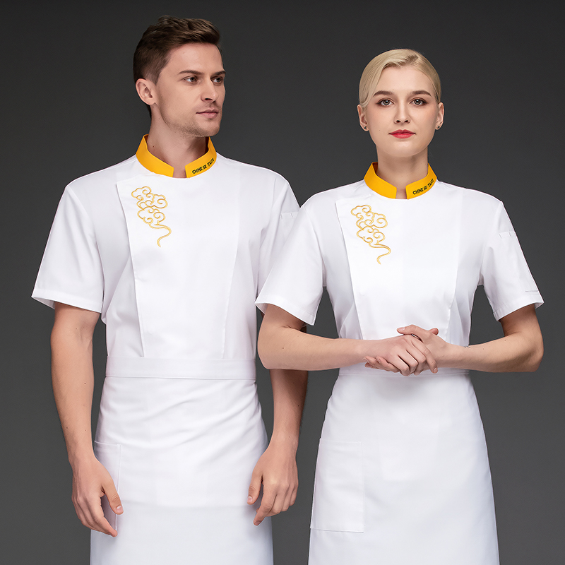 Chefs clothing bakery work clothes summer short sleeve cake room uniform barbecue workers clothing pastry Bakers clothing