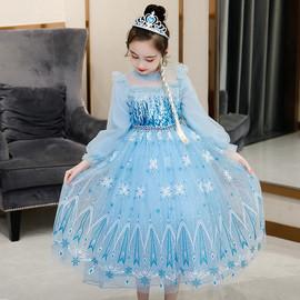 爱莎公主裙女童冰雪奇缘艾莎连衣裙爱沙的裙子秋冬装新款蓬蓬纱裙