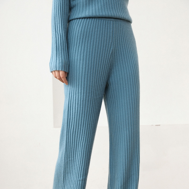 Autumn and winter new cashmere pants wear wide leg pants, womens high waist loose casual knitting pants, pants show thin wool pants