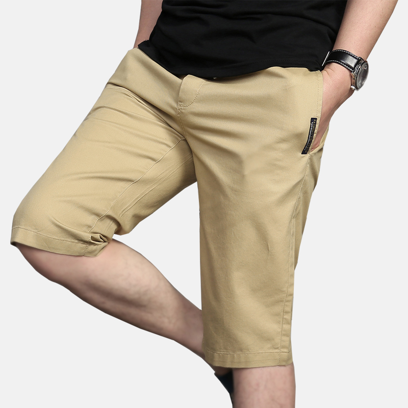 Summer Capris mens youth cotton pants elastic belt straight shorts thin breathable Capris overalls
