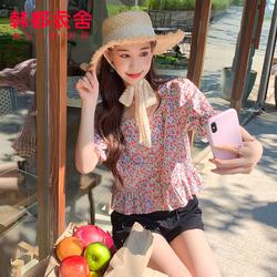 韩都衣舍2020新款夏装女装短款小衫碎花方领泡泡袖衬衫CQ9537莀