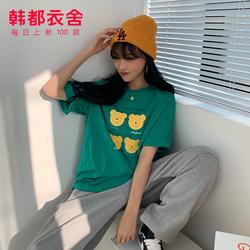韩都衣舍2020夏装新款女装韩版学生宽松卡通短袖T恤EQ13187婋