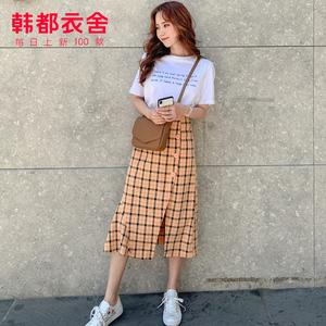 韩都衣舍2019很仙的新款夏装女网红格子套装裙两件套显瘦洋气休闲