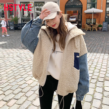 Handu clothing house 2019 winter new Korean loose Plush coat cowboy imitation lamb wool splicing cotton women