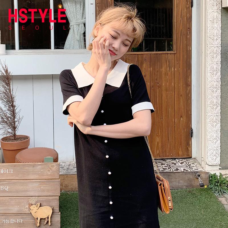韩都衣舍2019韩版夏装娃娃领囡短裙98.00元包邮