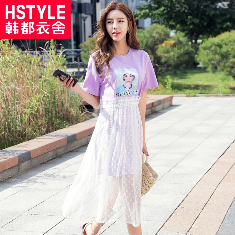 韩都衣舍2018韩版女装夏装新款网纱印花仙女假两件连衣裙OY8335焕