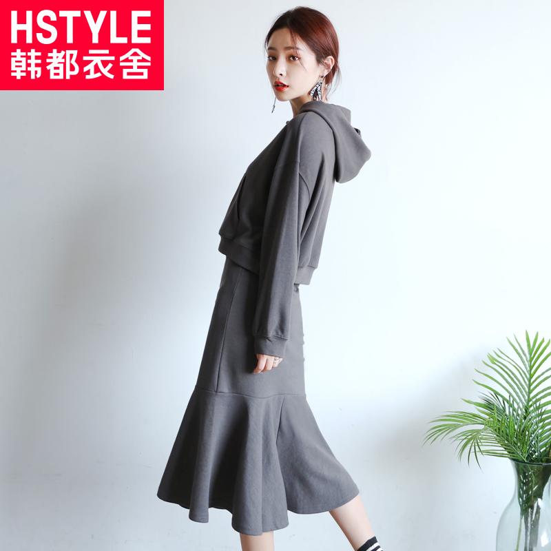 韩都衣舍2018韩版女装秋装新款纯色时髦两件套时尚套装GJ8335荃