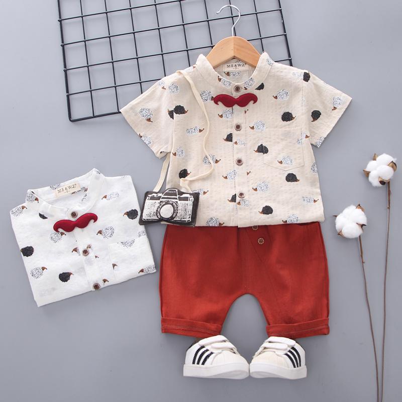男宝宝夏装套装 1-4岁男童装短袖纯棉2学院风3婴儿童装两件套3潮五折促销