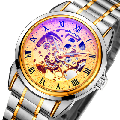 Full automatic mechanical watch Tourbillon mens steel band hollow watch stainless steel precision steel fashion trend mens Sports Watch