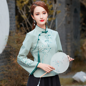 日常中式风盘扣唐装套装复古文艺短款民风旗袍两件套演出服,女装婚纱/旗袍/礼服,古韵服饰
