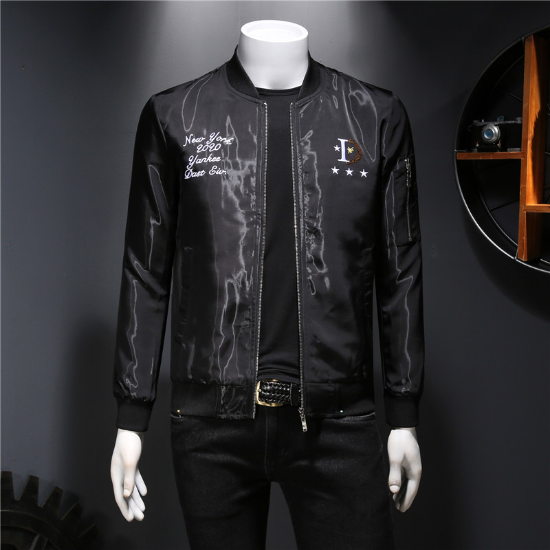 European station light luxury autumn jacket mens jacket letter wings embroidered sequins cool youth baseball uniform trend