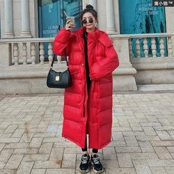 红色亮面棉衣2020年新款冬季羽绒棉服女中长款过膝韩版宽松面包服