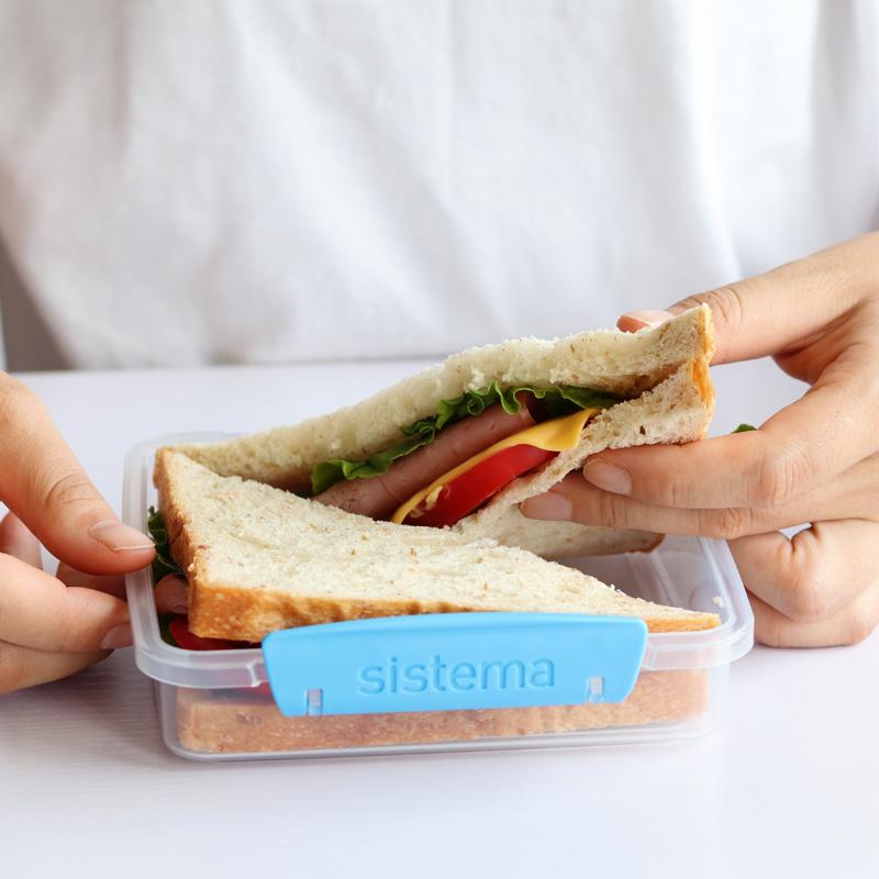 新西兰进口 Sistema 三明治盒 吐司便当盒 沙拉水果盒 健身轻食盒