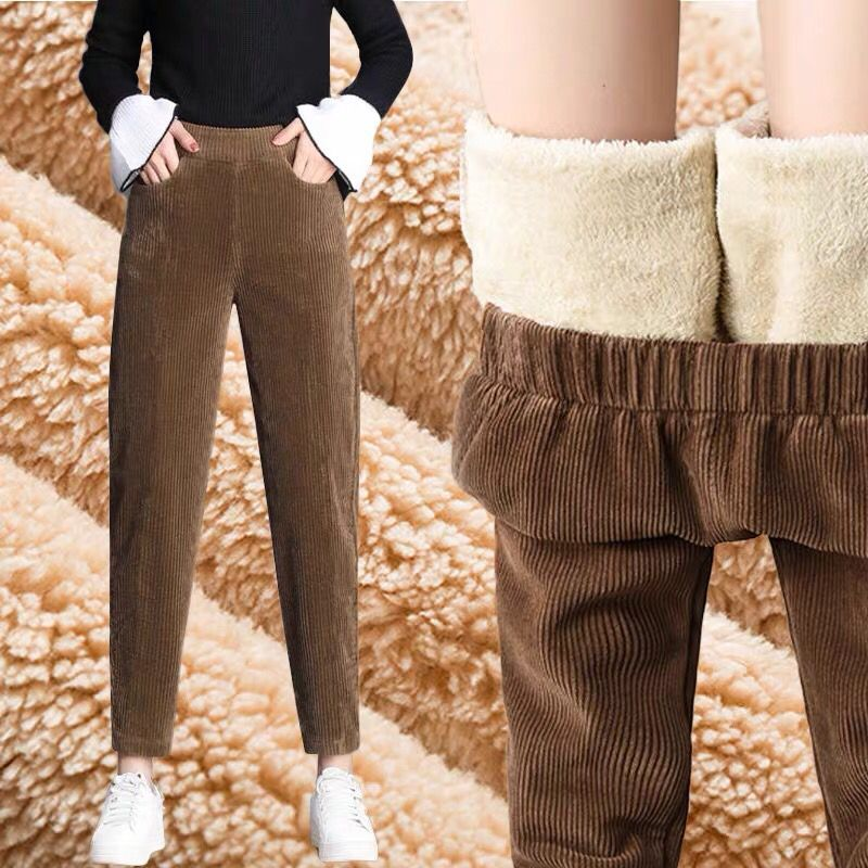Corduroy pants childrens radish pants new autumn and winter loose Harem Pants with plush cashmere cropped daddy pants