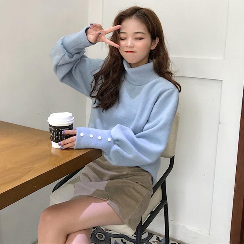 秋冬2018新款女装韩版高领打底衫长袖上衣宽松慵懒风套头毛衣学生