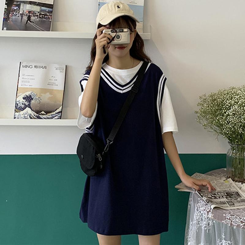 夏季韩版中长款小清新学生显瘦无袖V领连衣裙仙女超仙甜美裙子潮(非品牌)