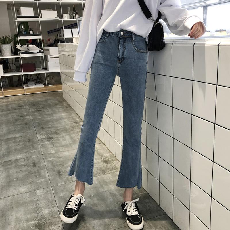 秋冬修身显瘦牛仔裤2019新款女装chic直筒裤子高腰微喇叭裤九分裤