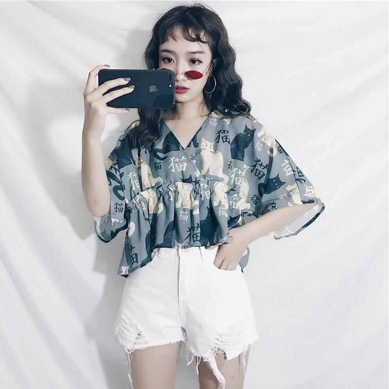 夏季韩版日系和风套头猫咪衬衫2018新款宽松短袖V领上衣学生女装