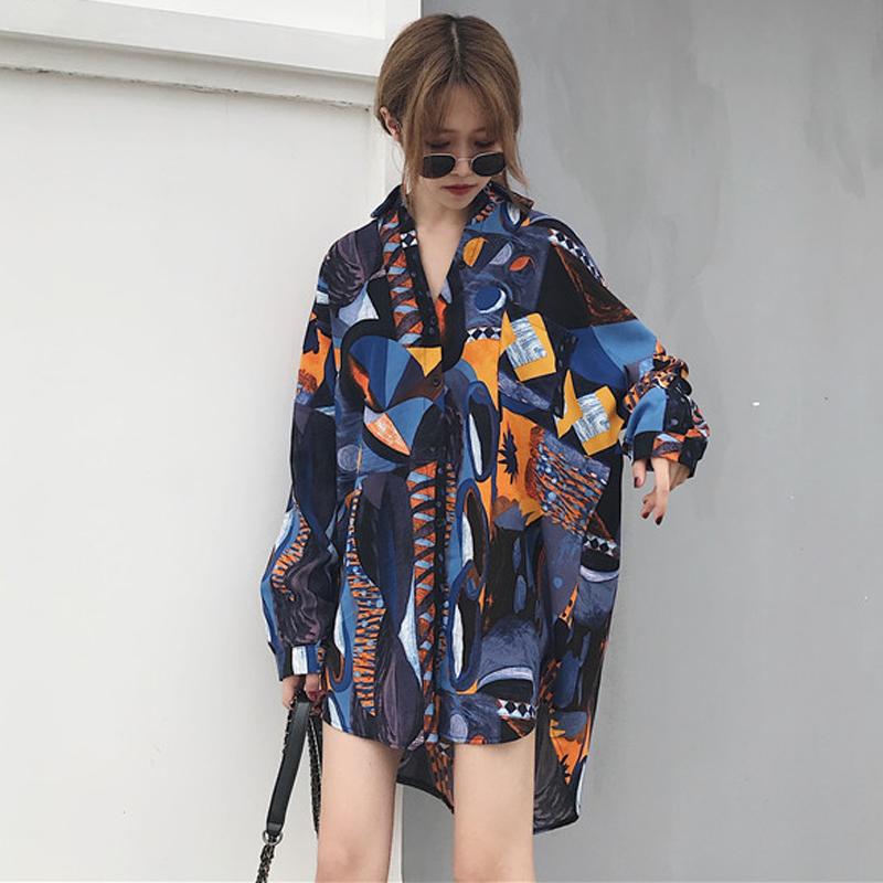 2018新款韩版夏季印花衬衫长袖宽松大码显瘦防晒衬衣上衣学生女装