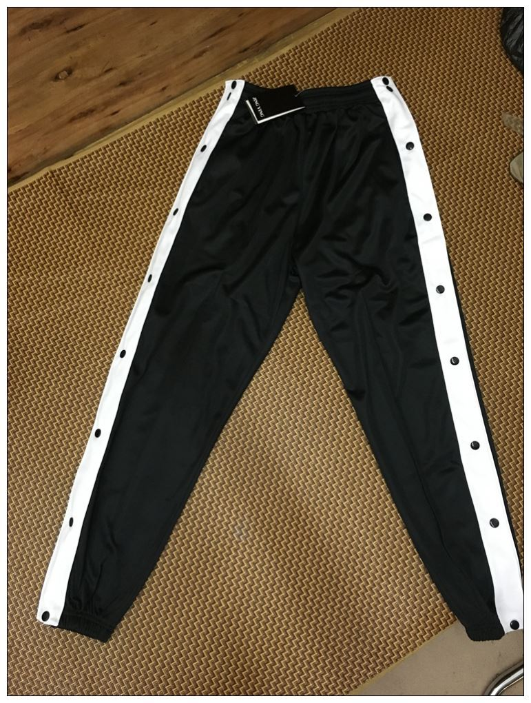Second off button pants, mens full open button basketball pants, mens trousers training pants, side breasted pants, and leg pulling pants.