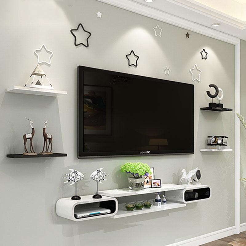墙上机顶盒置物架客厅电视背景墙柜装饰卧室房间影视墙面壁挂隔板