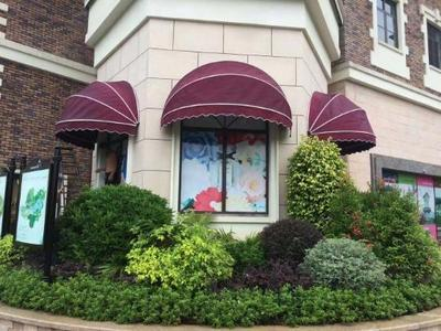 Watermelon shed curved outdoor retractable awning folding semi-circular watermelon awning facade cafe window decoration awning