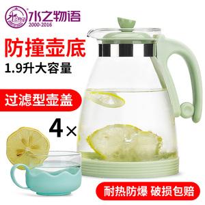 家用冷水壶玻璃凉水壶玻璃茶水壶耐高温凉白开水杯防爆大容量套装