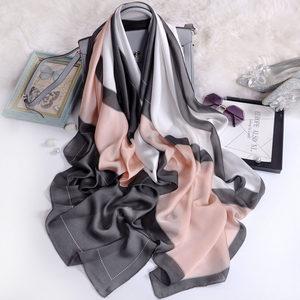 杭州丝绸围巾女春季丝巾气质格子拼色围巾长款洋气韩版百搭丝巾
