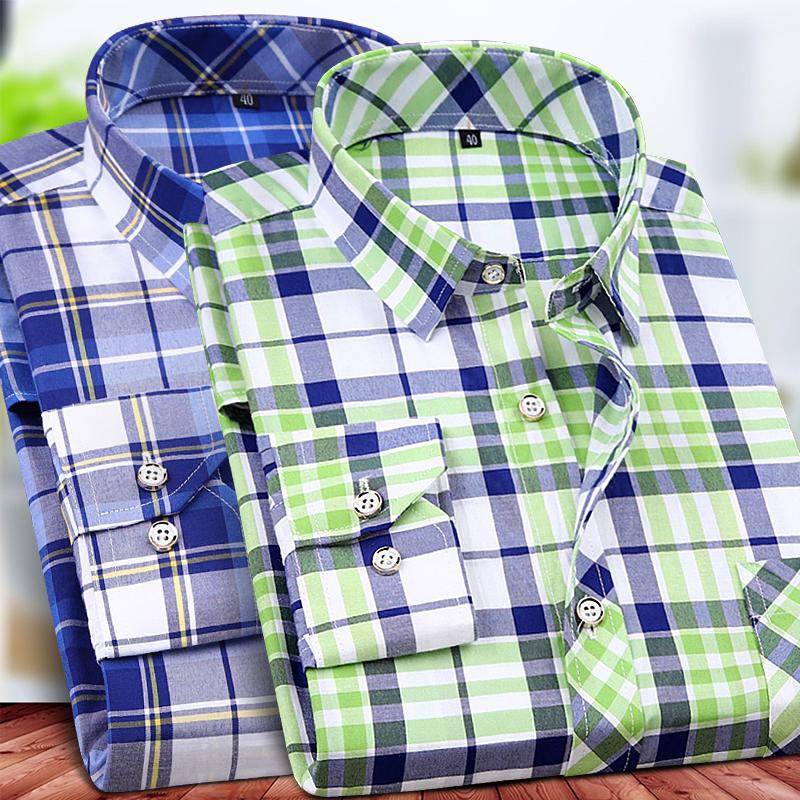 格子长袖衬衫男士夏季薄款宽松衫衣青年商务休闲衬衣免烫加大码潮