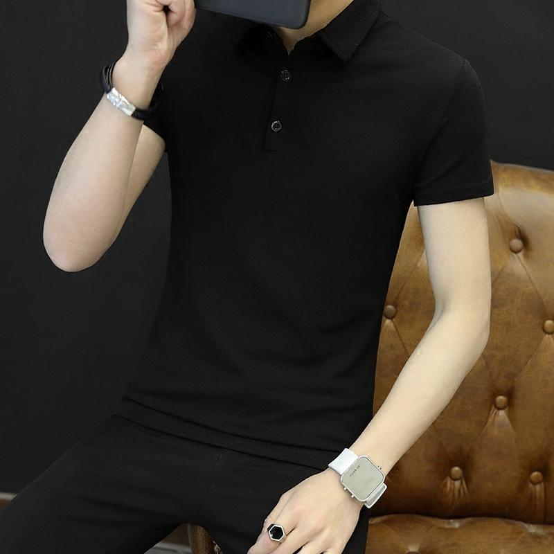 网红POLO衫男修身纯棉体恤社会小伙潮牌快手男生翻领短袖T恤衣服热销1件限时2件3折