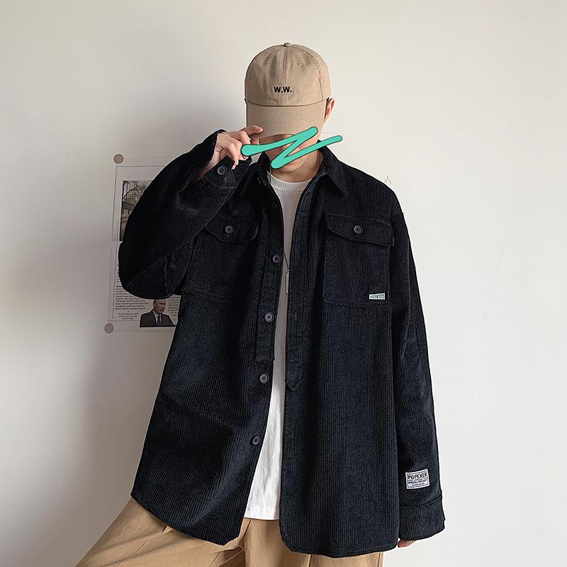 301D-3-P85 2020春季新款男士夹克衫纯色chic宽松翻领灯芯绒外套.