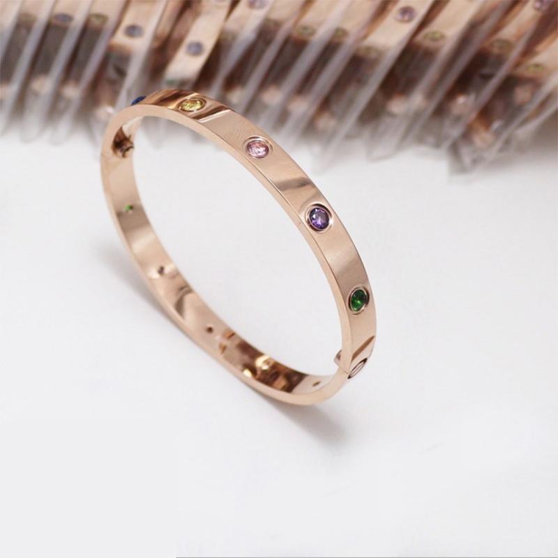 Love rose gold titanium steel bracelet for female lovers star studded classic screw gold narrow wide version Kajia Bracelet