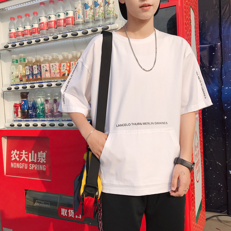 Short sleeve t-shirt mens summer 2020 new trend loose Hong Kong Style printed mens pure cotton trendy brand mix and match half sleeve ins