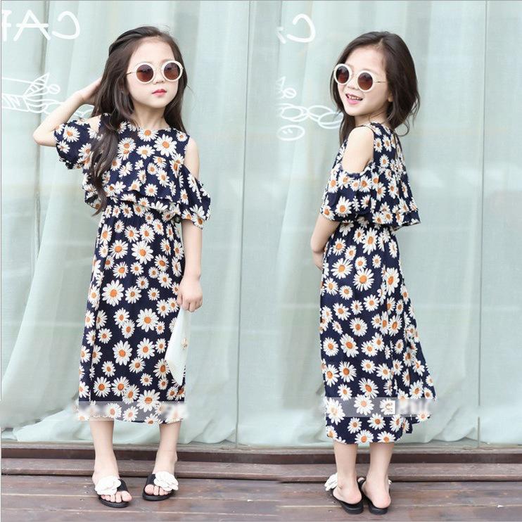 2017夏季韩版中小女童花朵单肩裙子露肩人造棉碎花连衣裙沙滩长裙