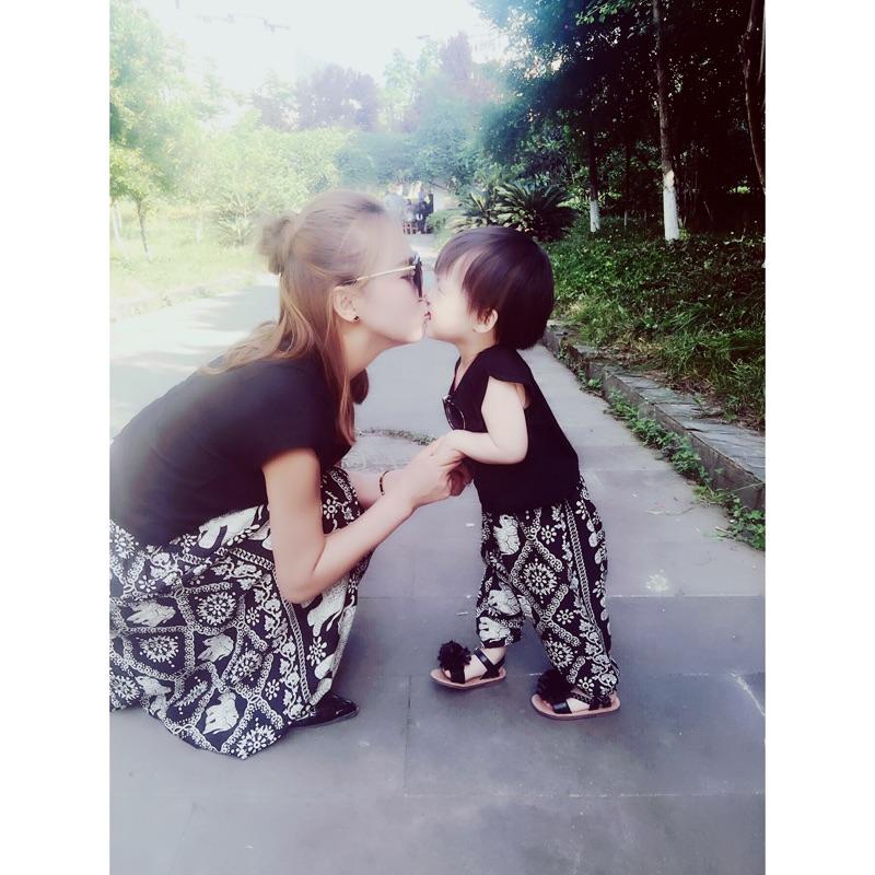 韩国亲子装夏季女童短袖宝宝大象飞鼠裤哈伦裤母子母女套装潮