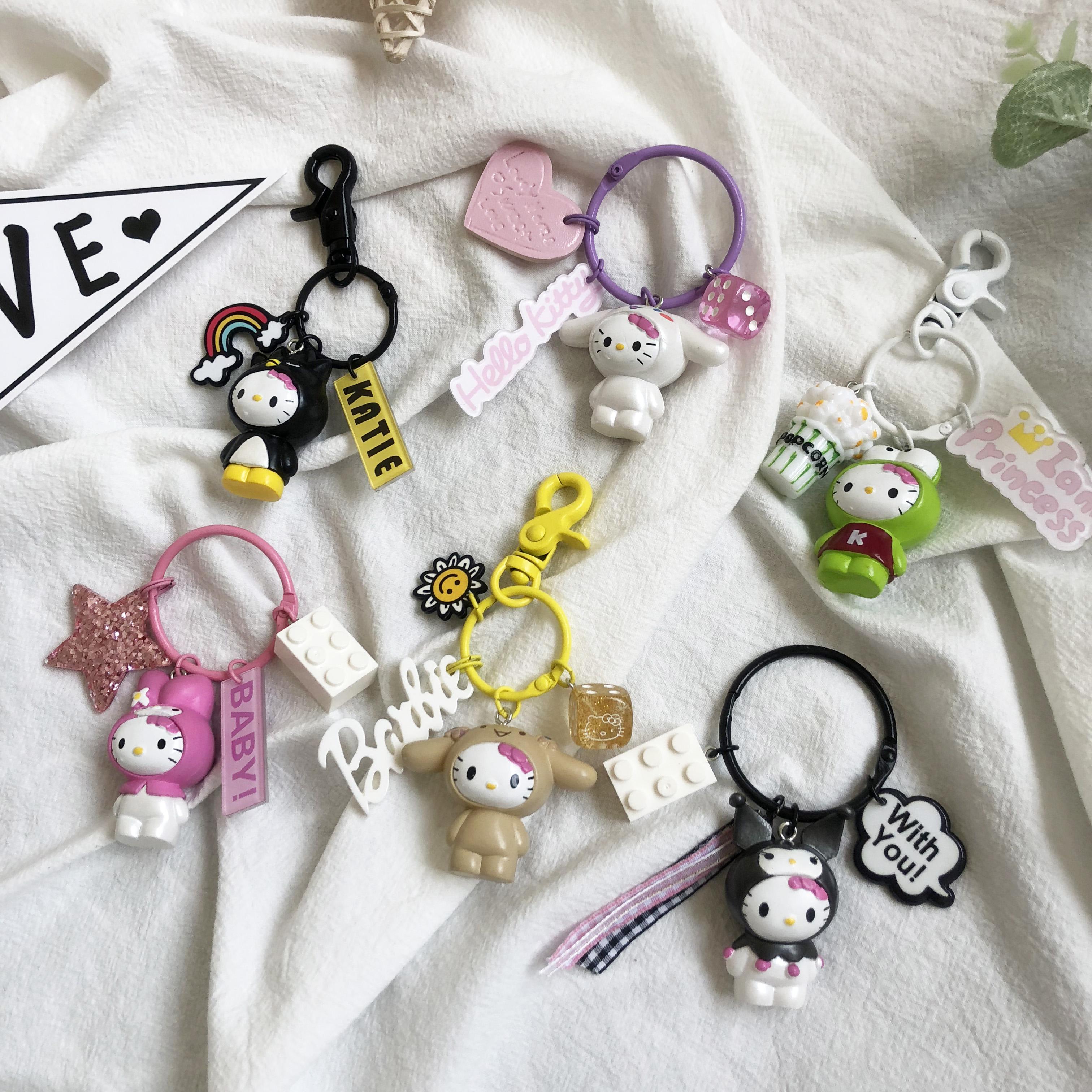 创意钥匙扣ins网红hello kitty猫钥匙链女汽车挂少女件饰可爱公仔